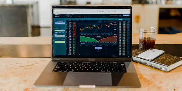 stockmarket charts on laptop